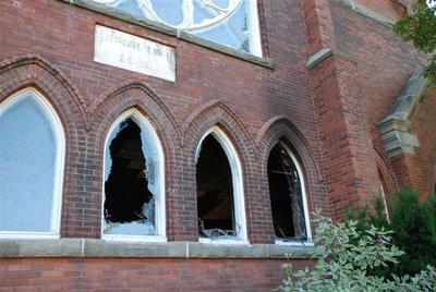 Fire damage at St. Paul's Church, Milton, Ontario