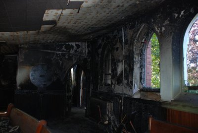 Fire damage at St. Paul's United Church, Milton, Ontario