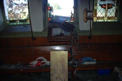 Fire damage at St. Paul's United Church, Milton, Ontario