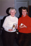Jean Butts and Brenda Whitlock.  Winners of a History Quiz.