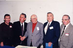 "Book launch - ""P.L. Inventor of the Robertson  Screw."" Left to right - Bill Weston, Mayor Gordon Krantz, Ken Lamb (Author), Ted Gazley (former VP Robertson Co.), Jim Dills."