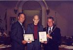 MPP Ted Chudleigh, Alex Cooke, Mayor Gordon Krantz.