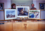 New Year's Levee, 1997.  Ursula Rees and William LaFerla with paintings