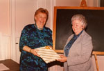 Jean Ruddall and Marjorie Powys at Milton Historical Society Meeting.   January 1989