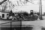 Demolition of Bonin's gas station.