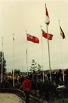 Flags flying at the 125th anniversary of the founding of the Town of Milton, Ontario