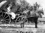 Miss C. Campbell in horse and buggy