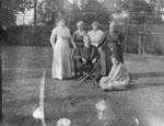 Family group in garden
