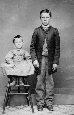 Adolescent boy and young child
