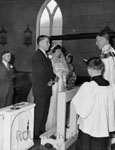 Wedding photograph.   Robert and June (Roffey) Granby.  Catholic Church, Pine St., Milton