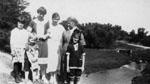Front - Murray and Spotty, Margaret  McKie, Back - Doris Freeman, Eileen Harrison, Helen McKie, Mrs. F. C. Willmott.