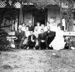 Clements family and friends outside the Clements cottage in Muskoka