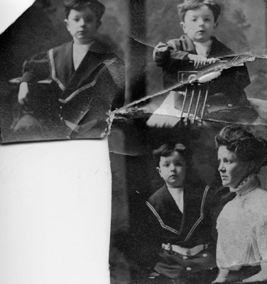 Three small photographs of child, one with his mother