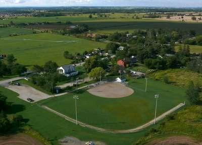 Aerial view of Omagh, Trafalgar Township, Ontario