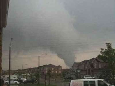 Funnel cloud over Milton from the tornado.