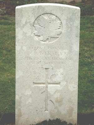 CWGC marker for the grave of Ernest Baverstock, 1886-1916