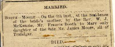 Marriage notice for Booth-Moore