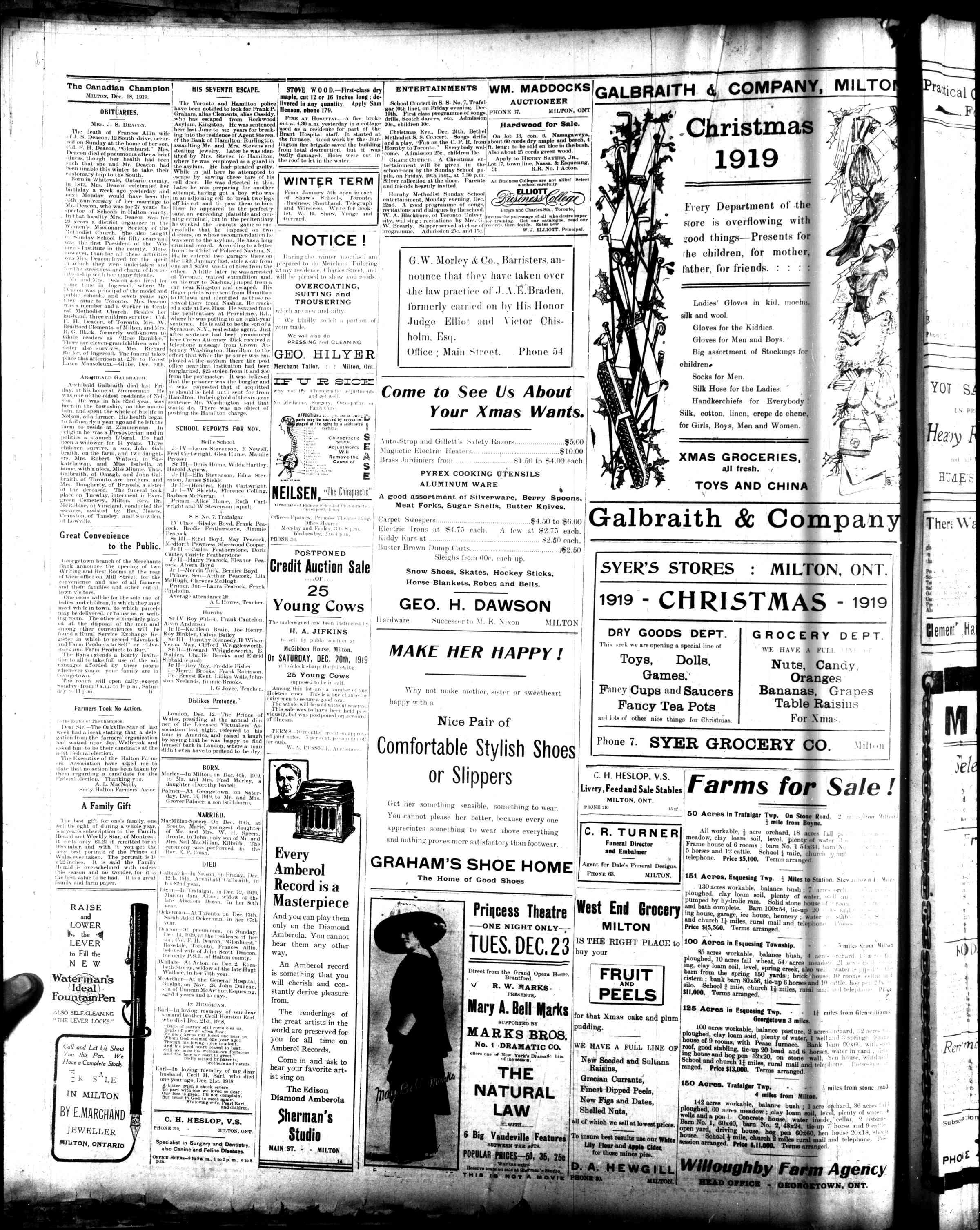 Canadian Champion (Milton, ON), 18 Dec 1919
