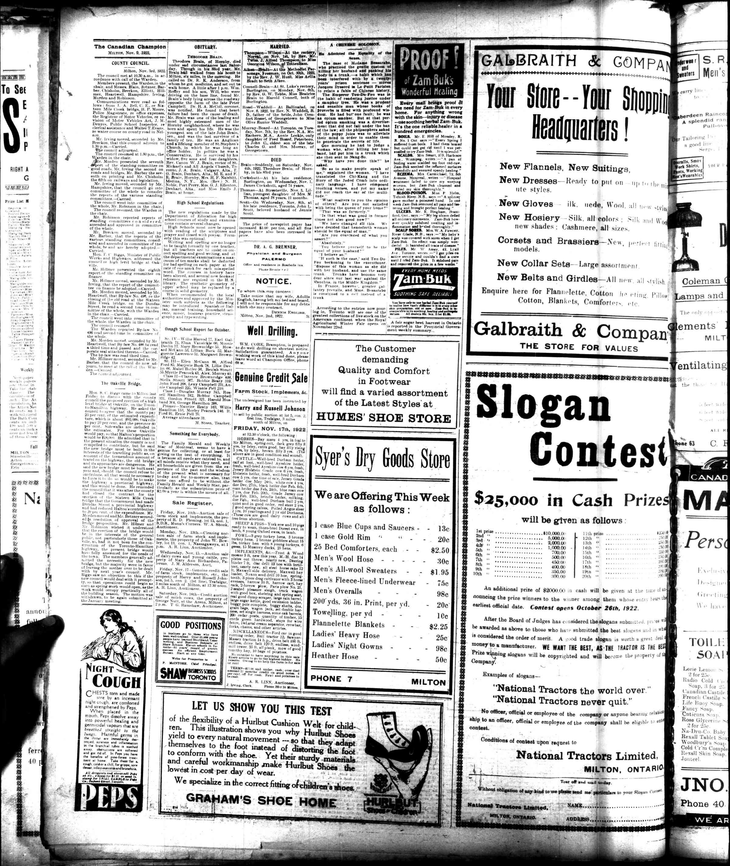 Canadian Champion (Milton, ON), 9 Nov 1922