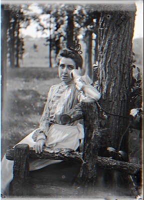 Maud on Rustic Seat