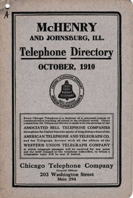 1910 October - McHenry Telephone Directory