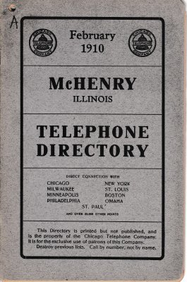 1910 February - McHenry Illinois Telephone Directory