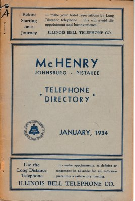 1934 January - McHenry Johnsburg Pistakee Telephone Directory