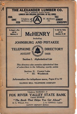 1925 August - McHenry, Johnsburg and Pistakee Telephone Directory