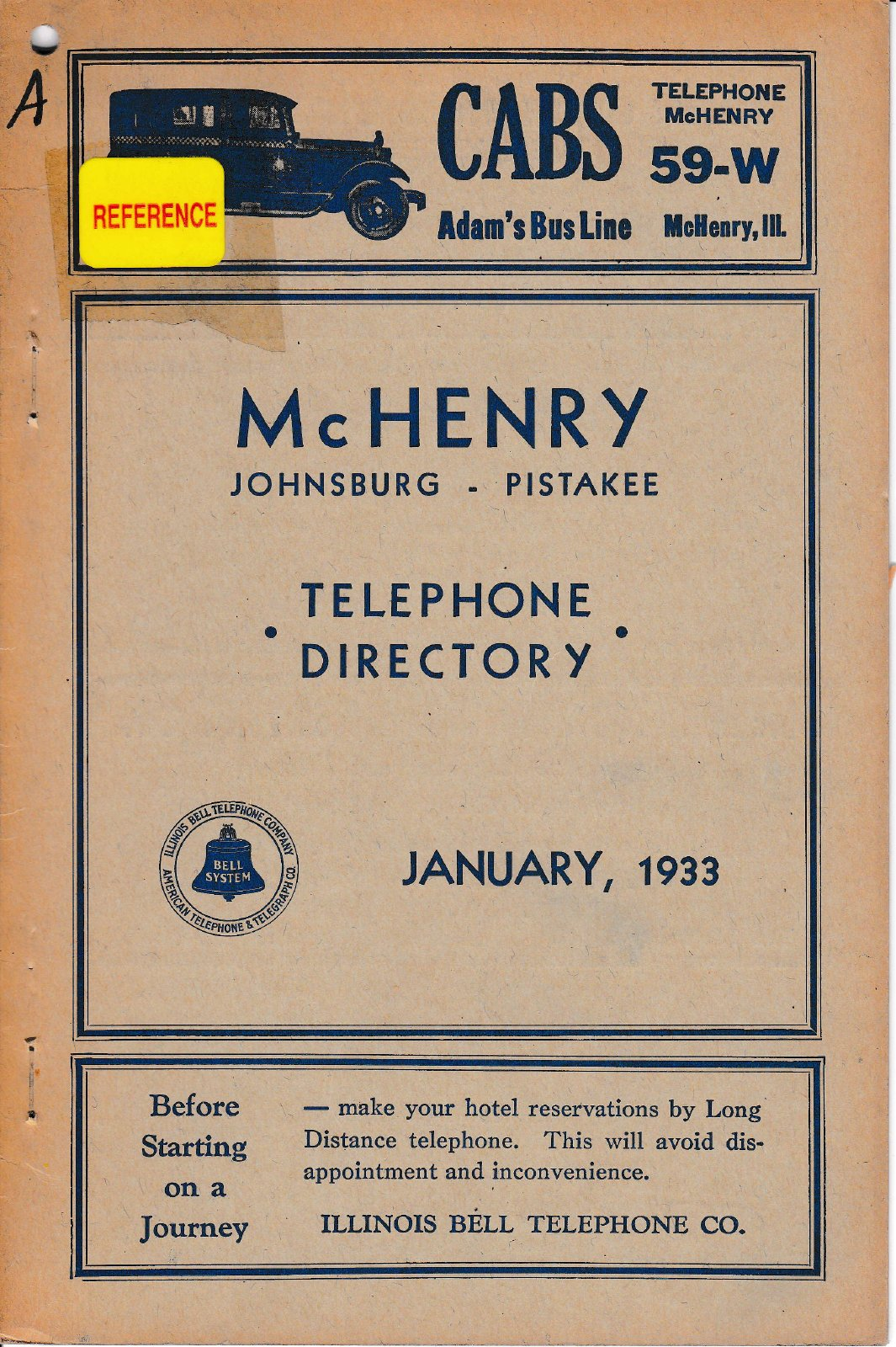 1933 January - McHenry Telephone Directory