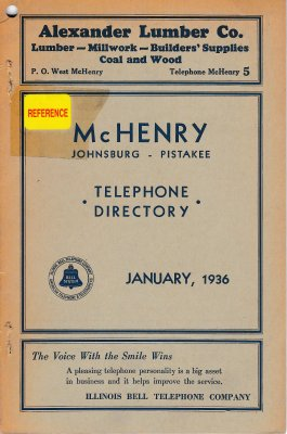 1936 January - McHenry Telephone Directory