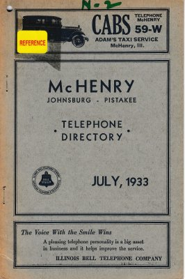 1933 July - McHenry Telephone Directory