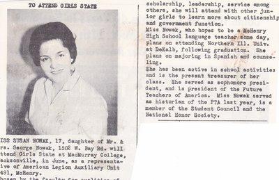 Scholarship Winner, Susan Nowak, To Attend Girls State