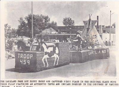 Lakeland Boy Scout Troop Float at Fiesta Day.