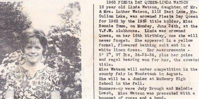 1963 Fiesta Day Queen - Linda Watson