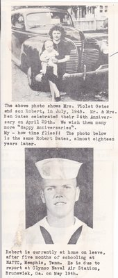 Violet Gates with Son Robert as an infant and photo of Robert in his Navy Uniform.