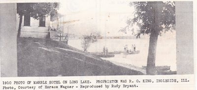 1910 Photo of Marble Hotel on Long Lake.