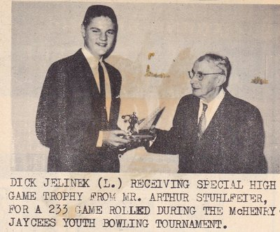 Dick Jelinek Receiving Special High Game Trophy From Arthur Shuhlfeier.