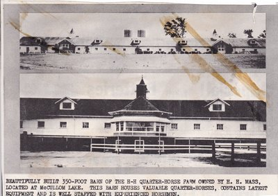 Beautifully built 350-Foot Barn of the H-H Quarter-Horse Farm Owned by H. H. Mass, Located at Mc Cullom Lake.