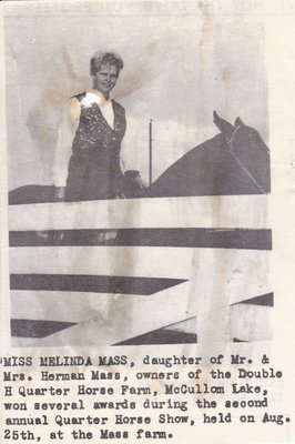 Miss Melinda Mass won awards at Annual Quarter Horse Show.