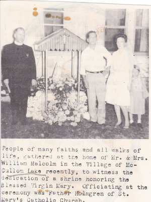 Dedication of a Shrine At The Home of Mr. & Mrs. William Malcolm.