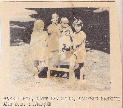 Four Children Sitting With a Table: Barbie Nye, Matt Levesque, Daureen Parenti and D.D. Levesque