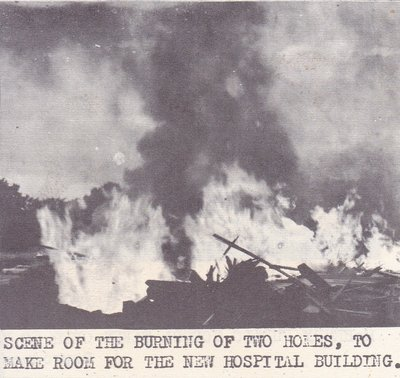 Scene of the Burning of Two Houses For New Hospital
