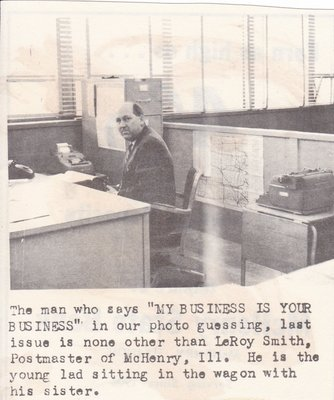 LeRoy Smith, Postmaster of McHenry, IL