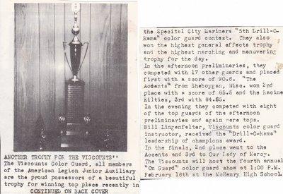 Viscounts Color Guard Win Trophy In Specital City Mariners Contest