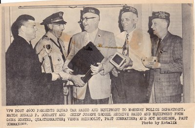 VFW Post 4600 Presents Squad Car Radio and Equipment to McHenry Police Department