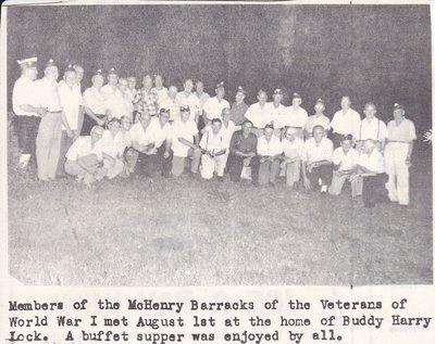 WWI Veterans at McHenry Barracks Enjoying a Buffet Supper