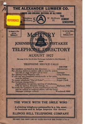 1927 August - McHenry Telephone Directory