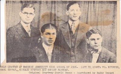 Male Quartet of McHenry Community High School of 1926