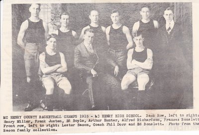 McHenry Basketball Team 1915 - McHenry County Champs