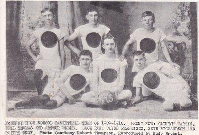 1909-1910 McHenry High School Basketball Team